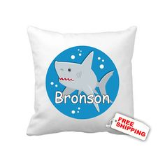 Boys shark pillow case  children personalized bedroom by kasefazem