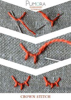 Pumora's lexicon of embroidery stitches: the crown stitch