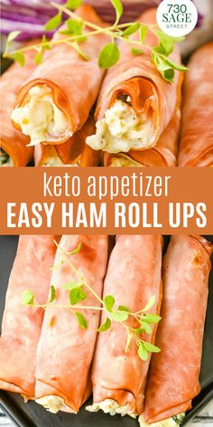 These low carb ham roll ups are a gluten free, keto friendly appetizer recipe you can whip up in less than 30 minutes. Super easy, delicious Low Carb Lunch, Low Carb Keto, Low Carb Appetizers, Appetizer Recipes, Party Appetizers, Ketogenic Recipes, Low Carb Recipes, Ketogenic Diet, Paleo Recipes