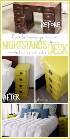 Upcycled Furniture Projects - Nightstands From A Desk - Repurposed Home Decor and Furniture You Can Make On a Budget. Easy Vintage and Rustic Looks for Bedroom, Bath, Kitchen and Living Room. Furniture Projects, Furniture Making, Bedroom Furniture, Home Furniture, Furniture Stores, Furniture Design, Modern Furniture, Smart Furniture, Cheap Furniture