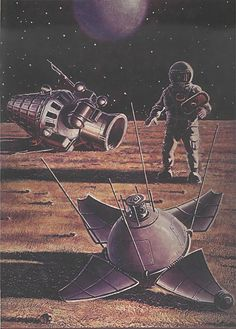 A painting by Aleksei Leonov and Andrei Sokolov, depicting a soviet kosmonaut finding the Luna 9 spacecraft on the Moon.