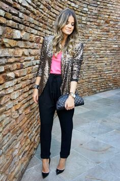 Sequined Blazer - Black silky pants - pink top tucked in  ♡