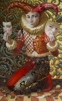 'Harlequin With Masks' -- by Victor Nizovtsev Klimt, Victor Nizovtsev, Art Du Cirque, Pierrot Clown, Clowns, Magic Realism, Vintage Circus, Russian Art, William Morris