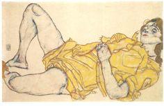 Egon Schiele, Liegende Frau im gelben Keid (Lying woman with yellow dress), 1914  via upload.wikimedia.org