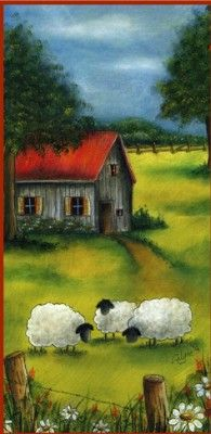 Paysage estival Sheep Art, Metal Garden Art, Mini Canvas Art, Easy Art Projects, Diy Garden, Pen And Watercolor, Country Art, Naive Art, Animal Paintings