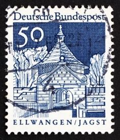 german castle stamps: GERMANY - CIRCA 1967: a stamp printed in the Germany shows Castle Gate, Ellwangen, Jagst, circa 1967 Editorial