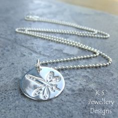 Fine Silver Disc Pendant Necklace  DRAGONFLY by KSJewelleryDesigns, $44.00