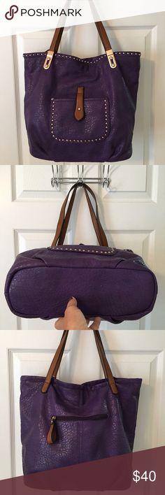 🛍 Amazing Purple Studded Large Shoulder Bag Gold hardware.  Front pocket.  Back zip pocket.  Main zip closure.  3 compartments (middle zips).  3 interior pockets (1 zips).  Man made.  Measures: 13x5x13x9. Independent Designer Bags Shoulder Bags