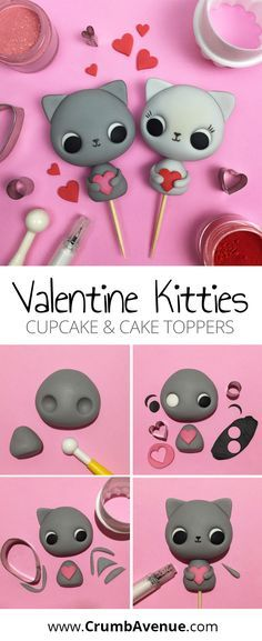 Cute Valentine Kitties - cake topper tutorial /cat, cats, kitty, figure, figures, figurine, figurines, fondant, gum paste, free, cupcake, cupcakes, love, heart, hearts, valentines, idea, inspiration, cakes, simple, easy