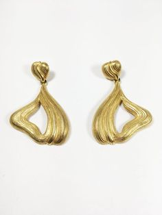 Vintage 1970s Brass And Enamel Earthy Toned Earrings