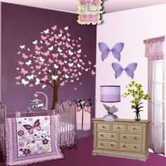 Butterfly Nursery Theme - With 5 Count Bedding Set, Butterfly Lane  Parents who love purples or lavender color for their baby room, Lambs & Ivy's 5 Count Bedding Set, Butterfly Lane is ideal for them.