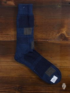 Patchwork Crew Sock in Washed Indigo from Anonymous Ism. Made in Japan.