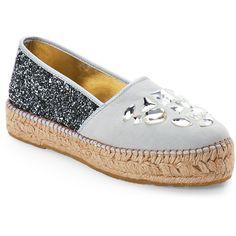 Baldan Silver Embellished Espadrilles ($97) ❤ liked on Polyvore featuring shoes, sandals, beige, beige sandals, slip-on shoes, beige shoes, silver embellished sandals and glitter slip on shoes