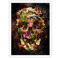 Animal Kingdom Sugar skull Stickers #stickers #deer #wolf #snake #skull #skeleton #dayofthedead #diasdemuertos #jackskellingtons #halloween #scary #thenightbeforechristmas #animal #bone #tattoo #hippie #hipster #aztec #maya #indian #feather #bird #butterfly #mexico #mexican #hauntedmansion #ghost #monster #sugarskull
