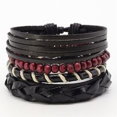 4 PCS FASHION VINTAGE FEATHER LEATHER BRACELET FOR UNISEX JEWELRY Bracelet Set, Women Jewelry, Men's Jewelry, Vintage Fashion, Beaded Bracelets, Beads, Accessories, Type, Psychedelic Art