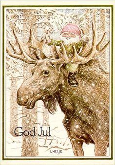 Lennart Helje moose gnome fairy snow art christmas, from sweden. Norwegian Christmas, Christmas Gnome, Scandinavian Christmas, Christmas Art, Winter Christmas, Vintage Christmas Cards, Christmas Pictures, Snow Art, Scandinavian Art