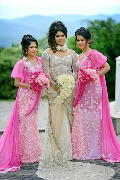 Sri Lankan wedding dressed by Lakshi salon
