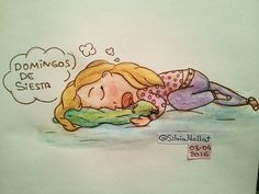 Domingos de siesta... #undibujoparacadadía #70 #dreams #sueño #siesta #domingo #illustration #design #art #scketchbook #doodle #watercolor #drawing #inktober