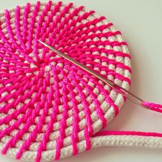 Find Your Happy von FindYourHappyDesign auf Etsy Work in progress for a basket from the series 'Neon & Natural - Series Browse unique items from FindYourHappyDesign on Etsy, a global marketplace of handmade, vintage and creative goods. Rope basket making Rope Basket, Basket Weaving, Crochet Rope, Knit Crochet, Rope Crafts, Diy Crafts, Crochet Projects, Sewing Projects, Crochet Patterns