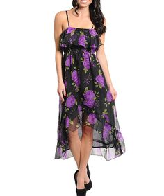black and purple high low dress - Trendy Clothing Central