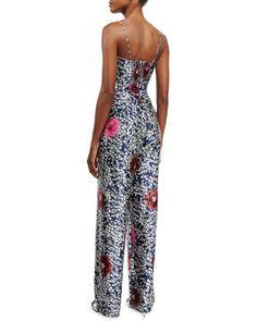 W0B1Y Johanna Ortiz Floral-Print Silk Tie-Front Jumpsuit, Blue/White/Pink