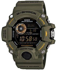 G-Shock Men's Digital Rangeman Green Resin Strap Watch 54x55mm GW9400-3 - Watches - Jewelry & Watches - Macy's