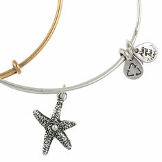 Alex and Ani Starfish Expandable Wire Bangle Russian Silver