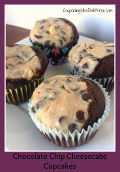 Chocolate Chip Cheesecake Cupcakes #cupcakes #chocolate #cheesecake #baking www.couponingtobedebtfree.com