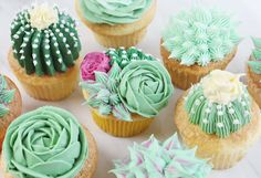 "From Amanda at The Inspired Home: ""Creating a succulent cupcake is as fun as it is easy. Just a few simple cake decorating tips and your favorite buttercream are all you need for this delicious and beautiful cupcake design. Cupcakes Design, Cake Designs, Cupcakes Decorating, Frosting Tips, Cupcake Frosting, Cupcake Cakes, Buttercream Recipe, Cake Icing, Cupcakes With Fondant"