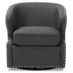 Baxton Studio Finley Upholstered Swivel Arm Chair