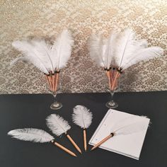 Old Hollywood Glamour Party Favors https://www.etsy.com/listing/268887299/feather-pens-hollywood-theme-wedding