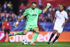 Gianluigi Buffon of Juventus in action during the UEFA Champions League match between Sevilla FC and Juventus at Estadio Ramon Sanchez Pizjuan on November 22, 2016 in Seville, Spain.