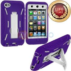 Amazon.com: myLife (TM) Violet Purple + White Tough Series (Body Armor Defender Glove) Case for iPod 4/4S (4G) 4th Generation iTouch (Built ...