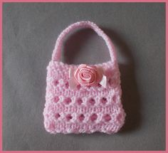 Ravelry: Marianna's Mini Gift Purses - Knit pattern by marianna mel Barbie Knitting Patterns, Knitting Dolls Clothes, Barbie Clothes Patterns, Crochet Barbie Clothes, Knitted Dolls, Knitted Bags, Knit Patterns, Knit Bag, Childrens Purses