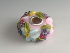 Pink Chintz Floral Pandora or Troll or chain bead...
