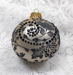 Elegant Champagne Color Hand Painted Black 3D MUD Floral Ornament with Rhinestone Trim 278