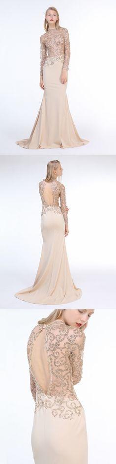 Women's Sheer Mesh Long Sleeve Backless Maxi Fishtail Dress Evening Gown