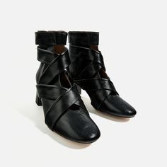 HIGH HEEL LEATHER ANKLE BOOTS WITH STRAPS-Ankle boots-SHOES-WOMAN   ZARA United States