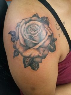 Black Grey realistic soulder rose tattoo