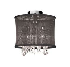 """View the Dainolite SAF-12-3SF Saffron 3 Light 12"""" Wide Semi-Flush Ceiling Fixture with Crystal Accents at LightingDirect.com."""