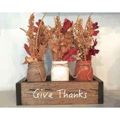 Fall Centerpiece Mantle Decor Planter Box Thanksgiving Decor Wood... ($44) ❤ liked on Polyvore featuring home, home decor, small item storage, grey, home & living, home décor, vases, wood box, wood centerpieces and autumn home decor