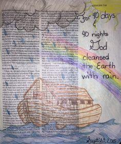 Noah's Ark Genesis 7:5 #biblejournaling #illustratedfaith Verses For Kids, Bible Verses About Love, Bible Study For Kids, Bible Verse Art, Faith Bible, My Bible, Genesis Bible, Genesis 6, Noah's Ark Bible