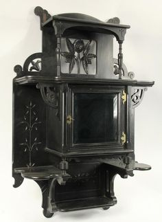 Eastlake Victorian Wall Cabinet American Black Lacquer Shelf Circa 1875 With Shaped And Fl Reticulated Backplate The Uppermost Supported