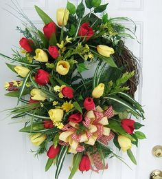 Spring wreath taking custom ordersColor tulips of by slkbaxt64, $119.99