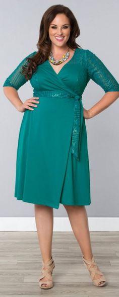 Ravishing Lace Wrap Dress, Glistening Jade (Women's Plus Size)