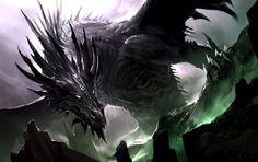 Black Dragon Drawing Illustration by Kekai Kotaki