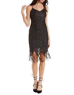Metallic Shimmer Fringe Bodycon Dress: Charlotte Russe