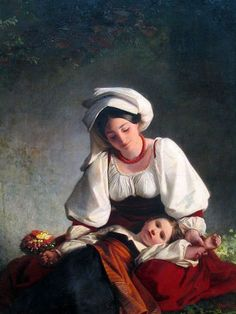 A Mother From Albano, August Riedel (1799 – 1883, German) I AM A CHILD, children in art history, blog