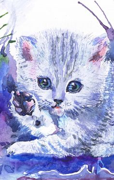 Watercolour paintings – Cat painting-3, watercolor, art print, A4 – a unique product by ValehtinaRa on DaWanda