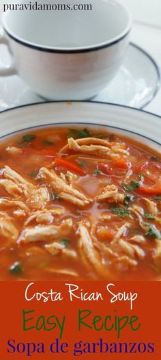 Simple one pot recipe for Costa Rican style garbanzo/chickpea soup.